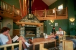 a common area at the Banf hostel in the Canadian Rockies